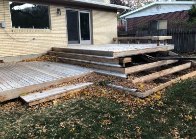 old deck being repaired in logan utah